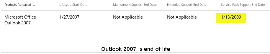 Outlook 2007 is end of life